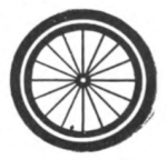 Cyclist Girl Scout badge, 1916, wheel.