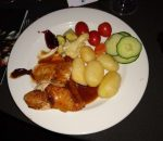 plate of food, turkey and potatoes and cranberry sauce