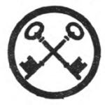 Housekeeper Girl Scout badge, 1916 (crossed keys).