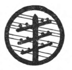 Telegraphy Girl Scout badge, 1916 (telegraph pole with wires).