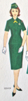Drawing of Senior Girl Scout in uniform from Junior Girl Scout Handbook, 1963.