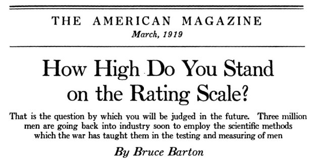 American magazine headline, How High do You Stand on the Rating Scale? March 1919.
