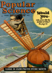 Cover, Popular Science Monthly, April 1926, man on crane.