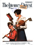 Cover, Literary Digest, May 10, 1919, mother reading schoolbook while annoyed son holds hoe.