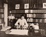 Ida Tarbell at desk, 1905.