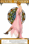 Coles Phillips Luxite Hosiery ad, woman in pink dress in front of stained glass window sticking out leg, 1919.