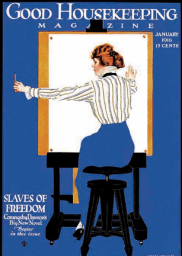 Coles Phillips January 1916 Good Housekeeping cover illustration, woman and easel.