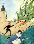 Maurice Day illustration, boy and girl with dragon, The Firelight Fairy Book.