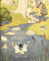 Man shooting duck, illustration by Boyd Smith, Mother Goose Nursery Rhymes.