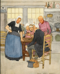 Maginel Wright Enright illustration, Hans Brinker, people around table.