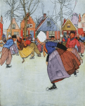 Maginel Wright Enright illustration, Hans Brinker, people skating on canal.