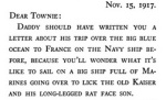 "Text from Daddy Pat of the Marines referring to ""the old Kaiser and his long-legged rat face son."""