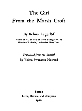 Title page, Girl from the Marsh Croft, Selma Lagerlof