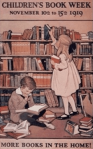 Children's Book Week Poster, 1919, Jessie Willcox Smith, children with bookshelf.