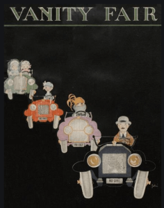 Vanity Fair cover, January 1920, cartoon of people driving cars.