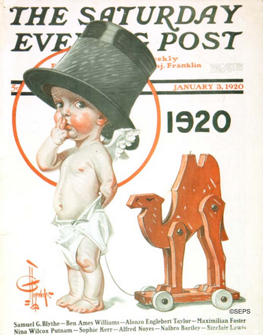 J.C. Leyendecker January 2020 Saturday Evening Post cover, baby with camel toy.