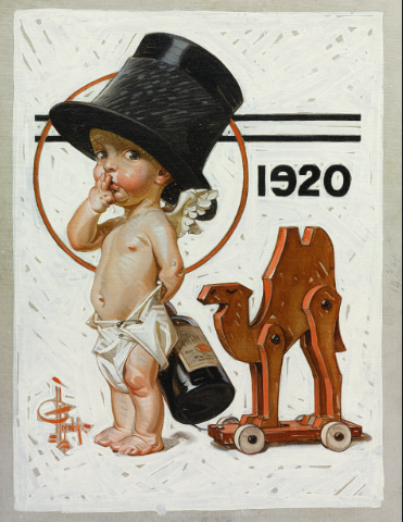 J.C. Leyendecker painting of baby with whiskey bottle and camel toy.