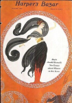 Erte cover, Harper's Bazar, January 1920, woman with flowing shawl.