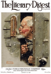 Norman Rockwell January 1920 Literary Digest cover, bearded man looking at thermometer in snow.