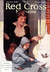 Red Cross magazine cover, baby feeding birds in snow while mother watches.