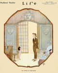 Life cover, January 1920, John Madison, cartoon of man and cupid.