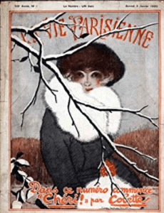 La Vie Parisienne cover, January 1920, woman in fur behind snowy branch.