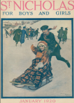 St. Nicholas cover, January 2020, skating boy pushing girl on sled.