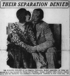 "Helen Lee Worthing and Eugene Worthing over caption ""Their Separation Denied,"" December 1929."