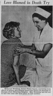 Helen Lee worthing with nurse after 1935 suicide attempt.