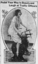Helen Lee Worthing on exercise bicycle, 1921.