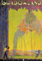 Cover of Shadowland, September 1919, person filming tree with flowers.