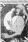 Photograph of Helen Lee Worthing with headline Loser in Bout Between Chorus Girls Takes Poison Tablets for Headaches.