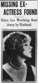Headline Missing Ex-Actress Found, with photo of Helen Lee Worthing