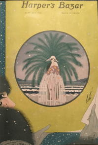 Erté February 1920 Harper's Bazar cover, woman in gown on beach.