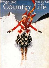 Country Life magazine cover, February 1920, woman skiing.