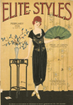 February 1920 Elite Styles cover, woman in gown in room.
