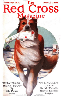 Red Cross magazine cover, February 1920, dog carrying Valentines.