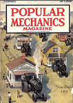 February 1920 Popular Mechanics cover, vehicles transporting houses and stores.