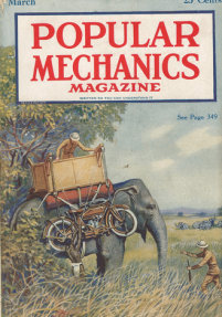 Popular Mechanics cover, March 1920, elephant hunt.
