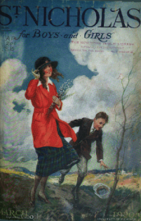 St. Nicholas cover, March 1920, young man and women in wind.