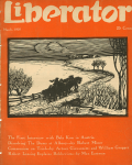 J.J. Lankes Liberator cover, March 1920, woodcut of horse and cart.