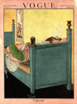 George Wolfe Plank Vogue cover, March 1, 1920, flapper on bed.