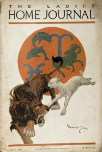 Carton Moore-Park Ladies' Home Journal cover, March 1920, lion and lamb with astrological signs.