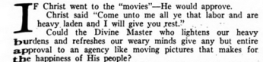 "Excerpt from March 1920 Photoplay article ""If Christ Went to the Movies."""
