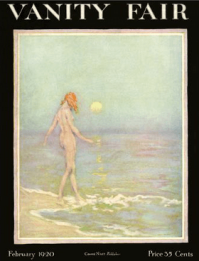 Warren Davis March 1920 Vanity Fair cover, naked woman walking into the ocean.