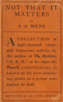 Cover of Not That It Matters, by A.A. Milne, 1919.