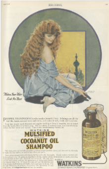 Shampoo ad showing woman with long red hair, Ladies' Home Journal, April 1920.