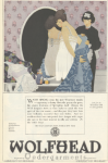 Wolfhead underwear ad, maid helping woman dress, Ladies' Home Journal, 1920.