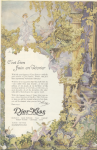 Djer-Kiss perfume ad, fairies in fantastical setting, Ladies' Home Journal, 1920.