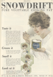 Snowdrift shortening ad, woman eating shortening, Ladies' Home Journal, 1920.